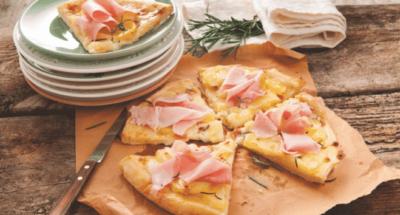 Pizza met aardappels en gekookte ham - Galbani