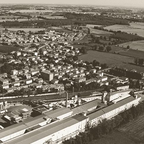 De zuivelfabriek van Giussago (in  het departement van Pavia)