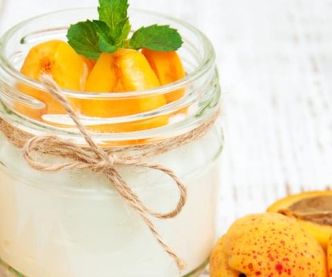 Abrikoos met een crème van Ricotta - Galbani