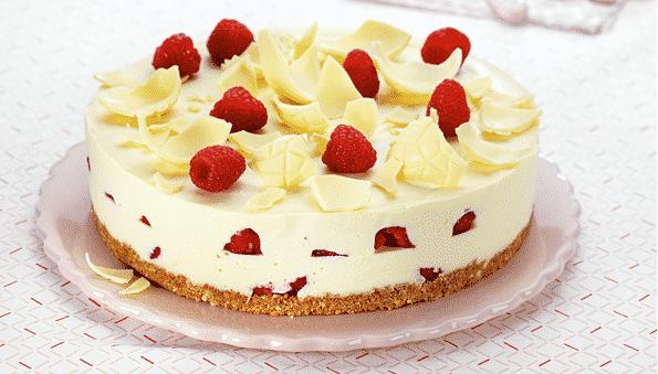 Cheesecake met witte chocolade en frambozen - Galbani